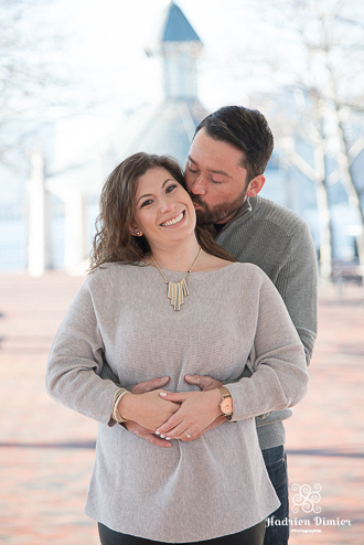 Fall engagement session by Boston Harbor at Piers Park in East Boston