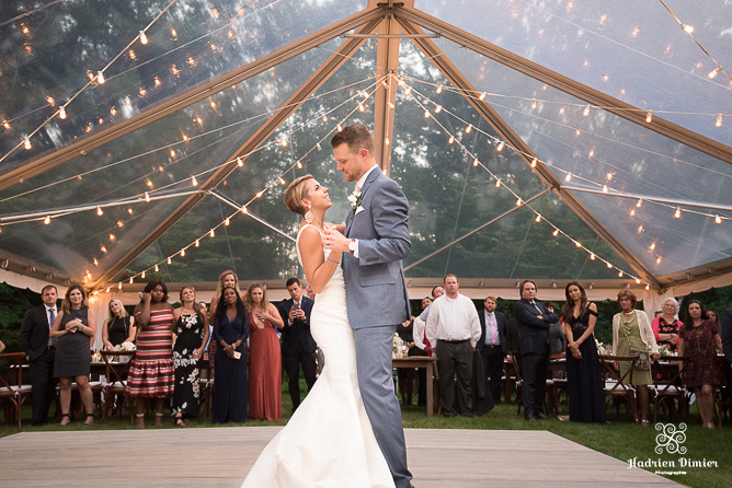 Boston Backyard Wedding with an intimate pond side ceremony and reception under a starlit clear top tent