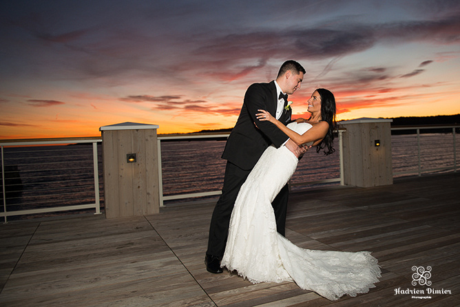 Beauport Hotel coastal Gloucester with sunset couple's portraits on the outside deck overlooking the beach