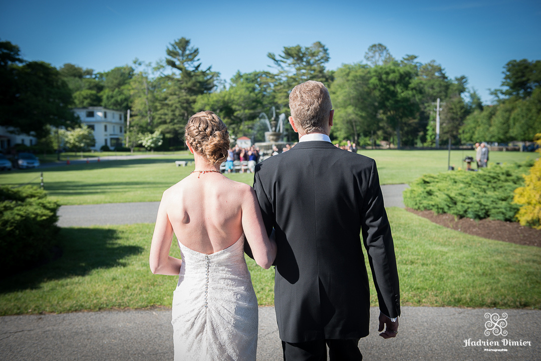 North Shore MA Summer wedding in front of the fountain at Tupper Manor