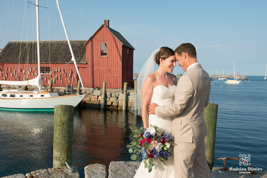 Ocean view Wedding on Boston's North Shore in Rockport MA with beach and nautical inspired decor with backyard reception at the charming Pleasant Street Inn.