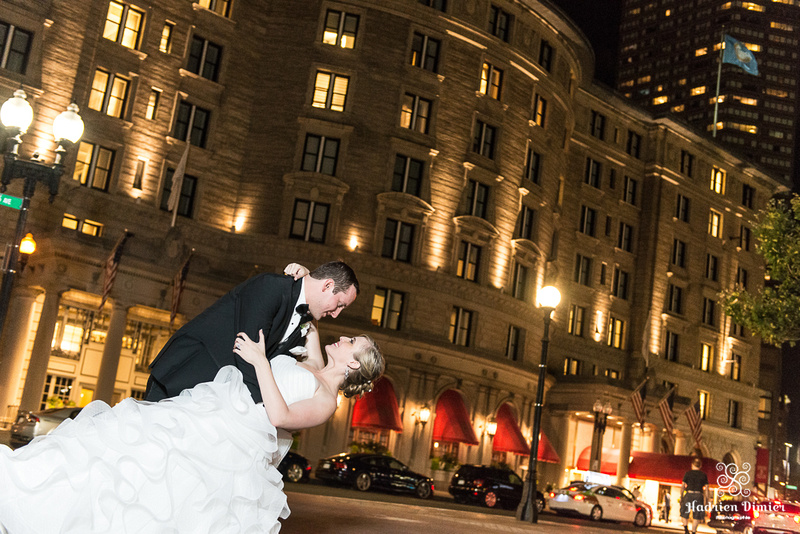Romantic summer wedding couples portraits at the Boston Public Garden, the Fairmont Copley Plaza and Trinity Church