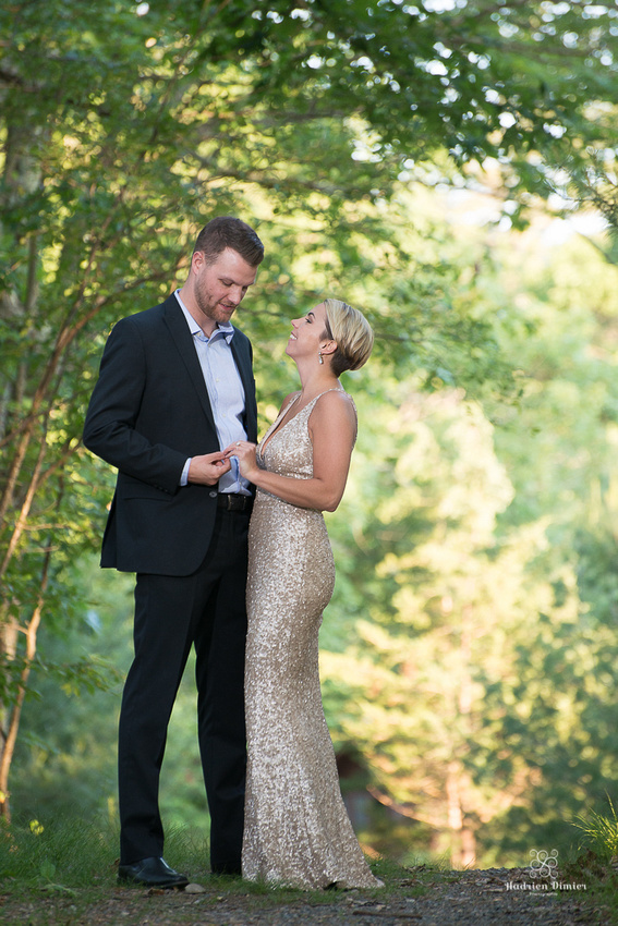 Boston woodlands engagement session with gold sequins dress, dressy casual mens attire rustic fences and curved stone walls