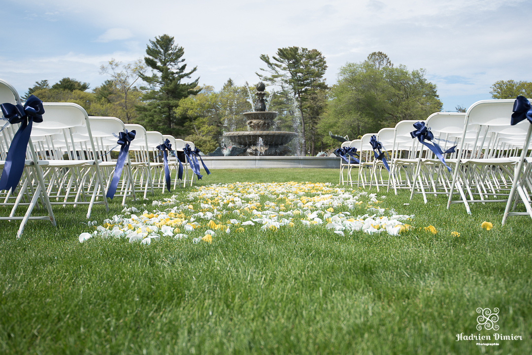 royal blue, yellow and white outdoor Spring wedding on Boston's North Shore at Tupper Manor in Beverly MA