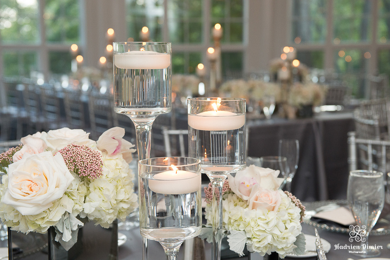 silver and blush inspired wedding decor at the beautiful Tupper Manor