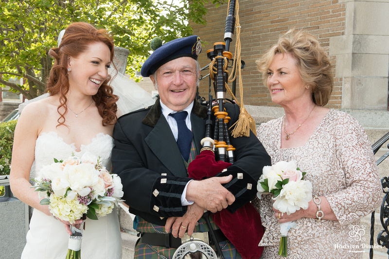 Boston Church Wedding with Bagpipes
